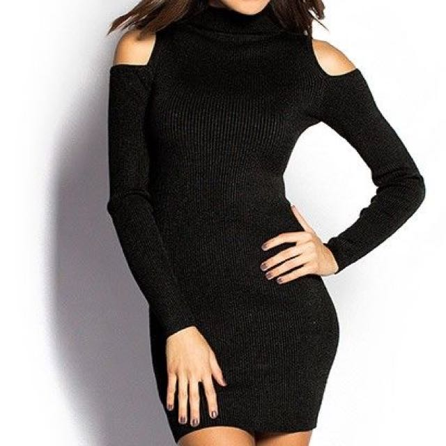 [RS] Kitschen Cold Shoulder Knitted Bodycon Dress