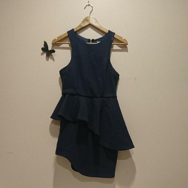 New Size 12 Navy Peplum Dress NWT