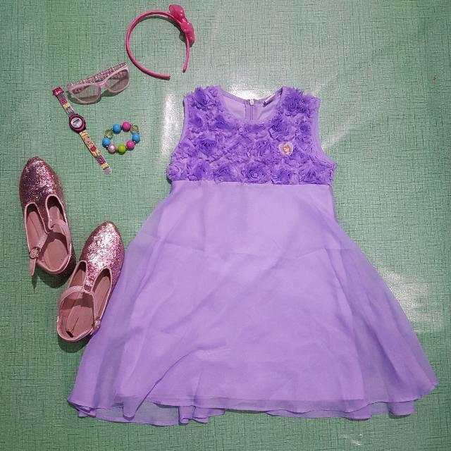Sofia The First Purple Sheer Dress 6-8 yo