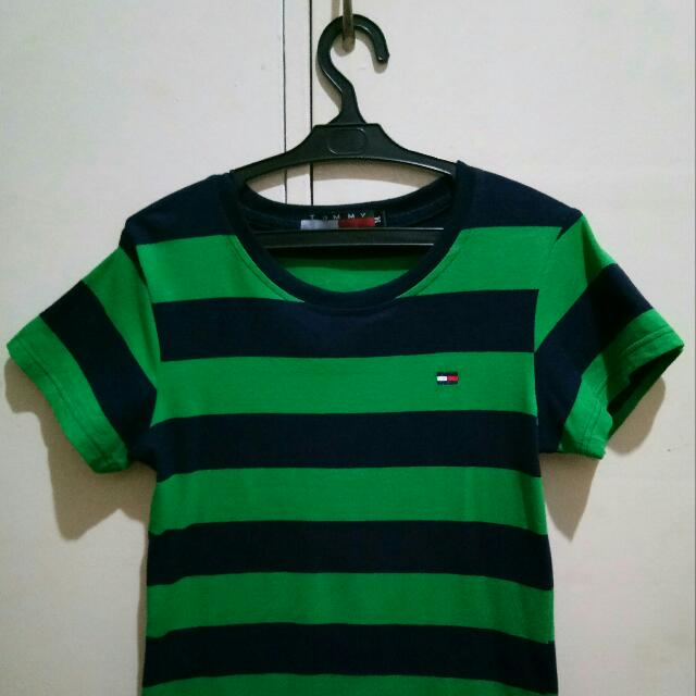 Stipes Black and Green Cotton Blouse