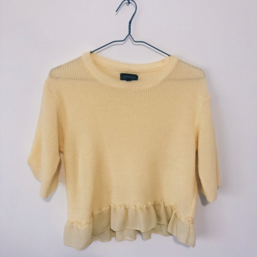 TopShop Cropped Sweater w/ Ruffles