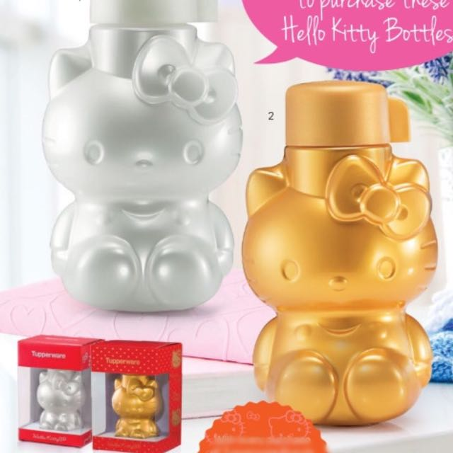 a2d36ab22 Tupperware Limited Edition Gold Pearl Hello Kitty ECO Water Bottle 425ml  with Gift Box, Babies & Kids on Carousell