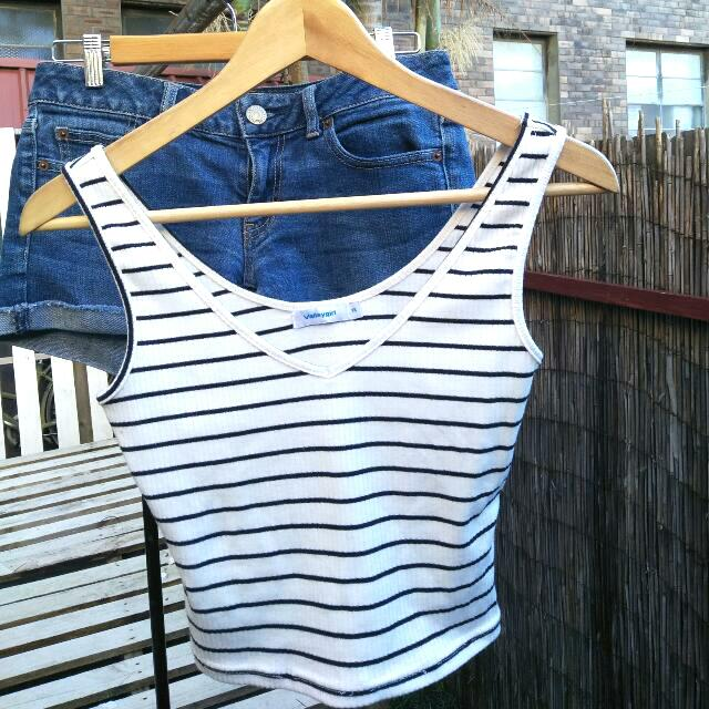 Valley Girl Stripped Crop Top