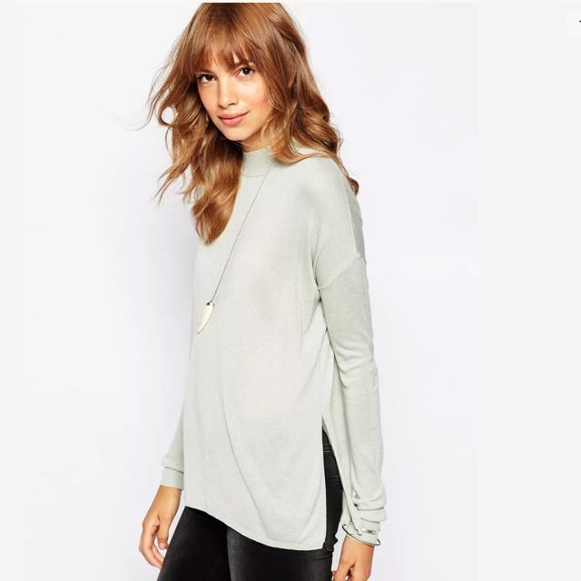 Vero Moda Side Split Fine Knit Top In Mint Sz L