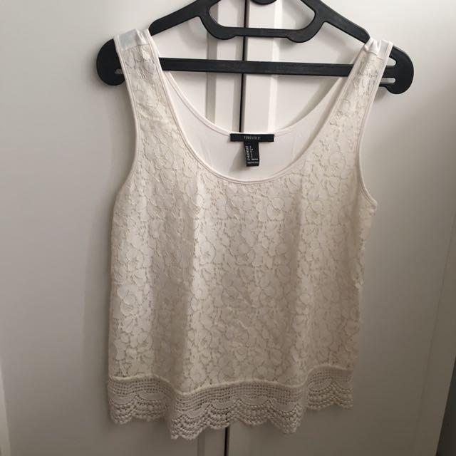 White Croche Tank Top