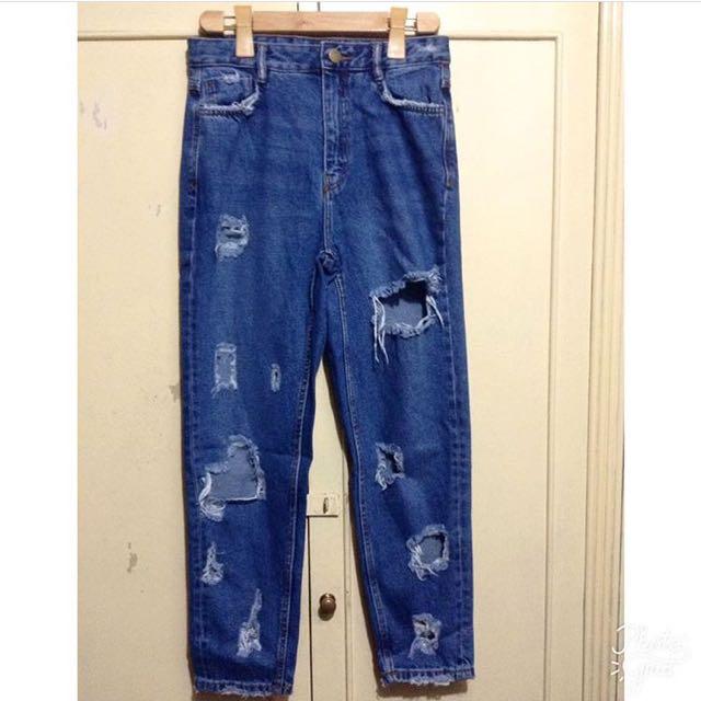 Ripped High Waist Denim Jeans