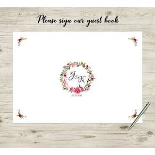 [somegoodwords] Wedding Guest Book Alternative, Wedding Sign, Wedding Gift, Customise, Wedding Stationery, Wedding Poster, Guest Signature, Guest Log Book, Product Code WS 22