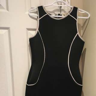 Black Neoprene Dress With White Piping