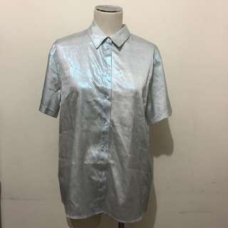 ASOS Holographic Short Sleeve Button Down Shirt