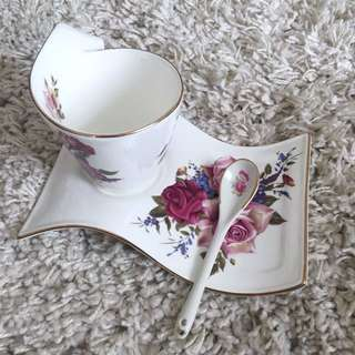 Vintage Tea Cup And Spoon Gift Set (hand crafted)