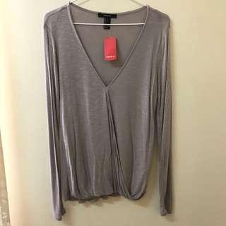 Taupe V-Neck Long Sleeve Shirt