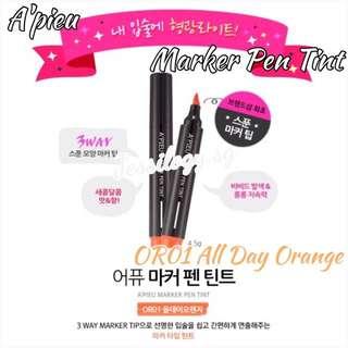 INSTOCK A'pieu Marker Pen Tint ALL DAY ORANGE / A'pieu Tint Pen In OR01 All Day Orange