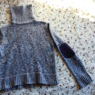 Turtleneck Blue Knitted Jumper / Sweater