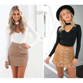 Choker Knitted Ribbed Sweater Top