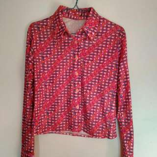 Blouse Motif Retro Pink Orange