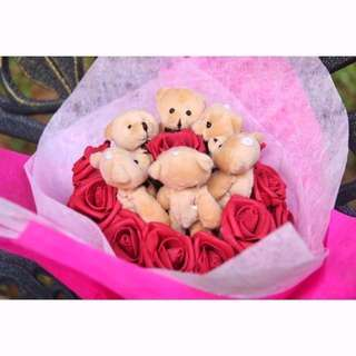 Cute 6 Pcs Brown Teddy Bear Plushie Red Roses Bouquet Flower for Gifts Valentines Day Mothers day Gifts Red Rose Bear Bouquet