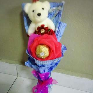 Cute Teddies Bear Plushie Pink Purple Blue Red Roses Bouquet Flower for Gifts Valentines Day Gifts ( 1 Teddy Bear 1 Ferrero Rocher)