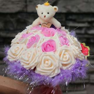 Cute Teddy Bear Plushie Ivory Pink Rose Bouquet Flower for Gifts Valentines Day Gifts