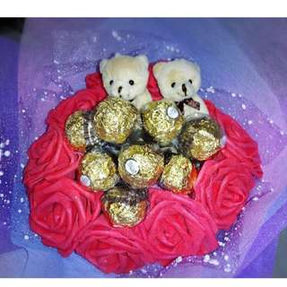 Cute Couple Teddy Bear Plushie Ferrero Rocher Red Roses Bouquet Flower for Gifts Valentines Day Gifts ( Couple Teddy Bear )