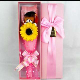 Sunflower One and Only Graduation Bear Bouquet in box