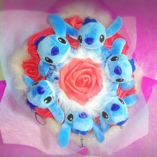 Cute 6 Stitch Plushie Red Roses Bouquet Flower for Gifts Valentines Day Mother's Day Gifts ( 6 Stitch Plushie )