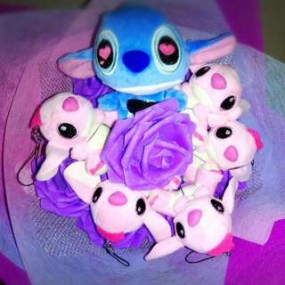 Cute Pink Stitch With Big Stitch Plushie Purple Roses Bouquet Flower for Gifts Valentines Day Mother's Day Gifts ( 6 Stitch Plushie )