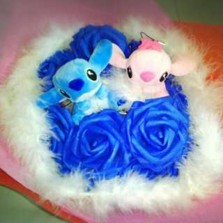 Cute Couple Stitch Plushie Blue Roses Bouquet Flower for Gifts Valentines Day Mother's Day Gifts ( Couple Stitch Plushie )
