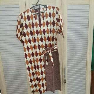 Batik Keris Dress Brown Size XL