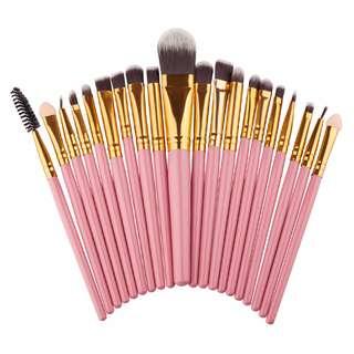 PINK 20 Pieces Make Up Brush Set Tools