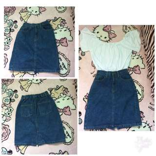 Navy Blue Denim Skirt