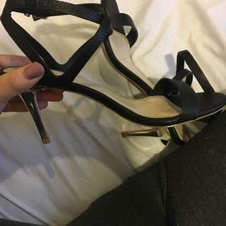 Forever New Size 38 (size 8) Gold Tipped Heels