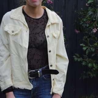 thin yellow denim jacket