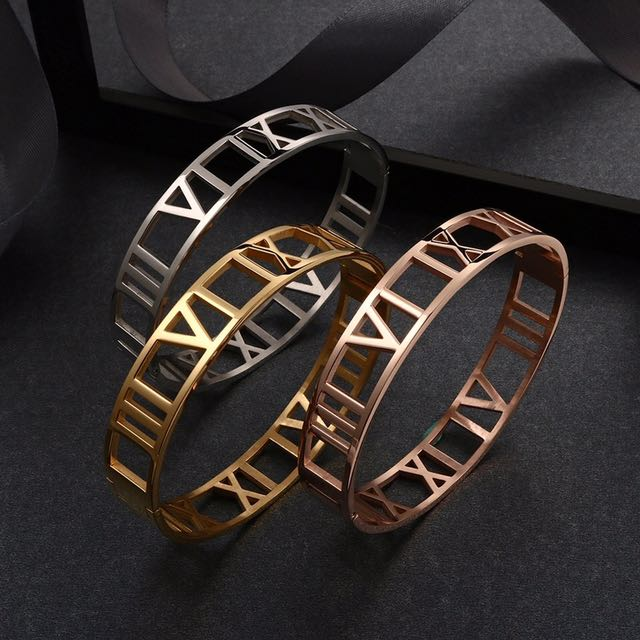 12mm New Fashion Hollow Out Titanium Steel Roman Numerals Bangle Bracelet For Women Brand Gold Wide Cuff Bangle Roman Number