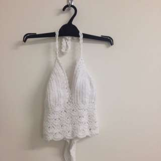 Crotchet White Crop Top