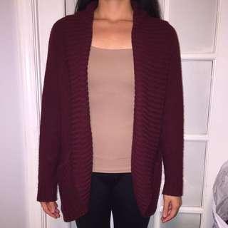 Burgundy Knit Sweater Cardigan