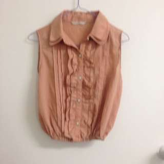 Salmon Top With Ruffles