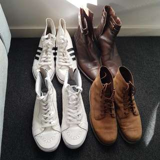 Assorted Mens Shoes - Timberlands, Vans, Adidas