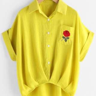 Rose Pocket Shirt - WHITE BNWT