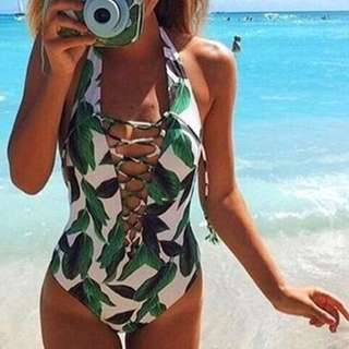 Women's One Piece Lace Up Swimwear