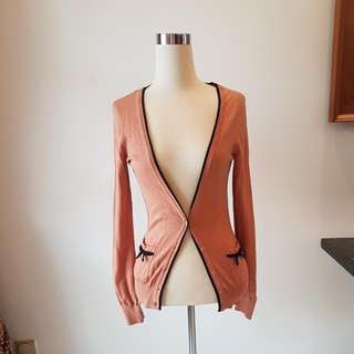 ORIGINAL HM / HNM BROWN BEIGE CARDIGAN SIZE S WITH RIBBON