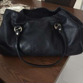GUCCI Brand Black Leather Bag