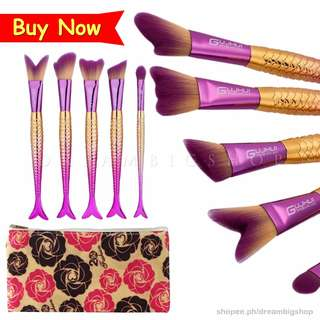 Metallic Color 6 Pieces Mermaid Tail Make Up Brush Set Tool with Pouch