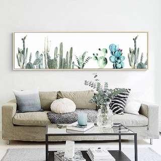 Framed Long Wall Art Poster Cactus Cacti Succulent Design B