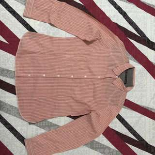 Zara Pink Striped Long Sleeved Shirt (Large)