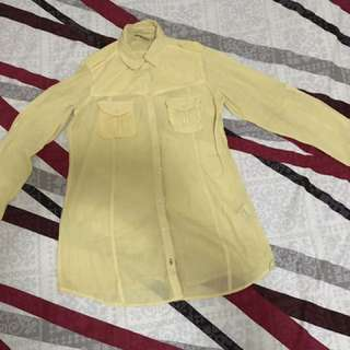Zara Yellow Long Sleeved Shirt (Medium)