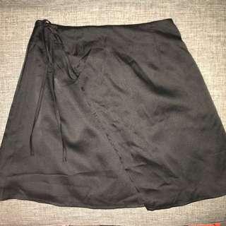 Black Silk Wrap Skirt