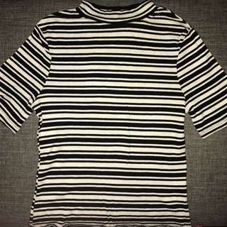Black And White Striped High Neck Cotton On Top