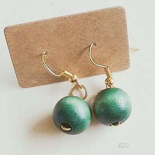 🚚 ♥綠色木頭耳環