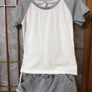 成套 灰色運動風上衣 短褲
