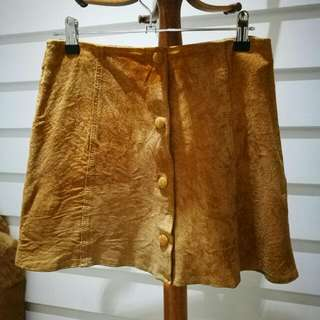 Vintage Genuine Suede Leather Skirt Festival Style